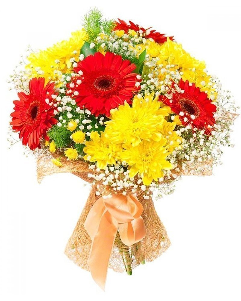 букет гербери хризантеми