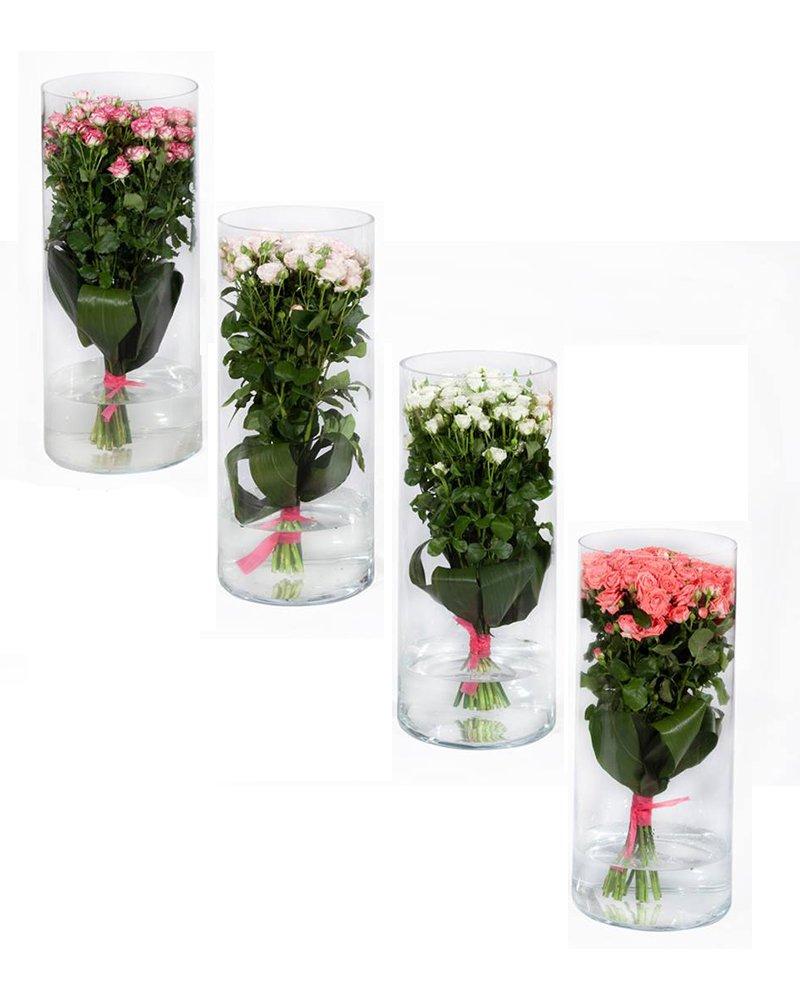 Букет спрей рози + стъклена ваза