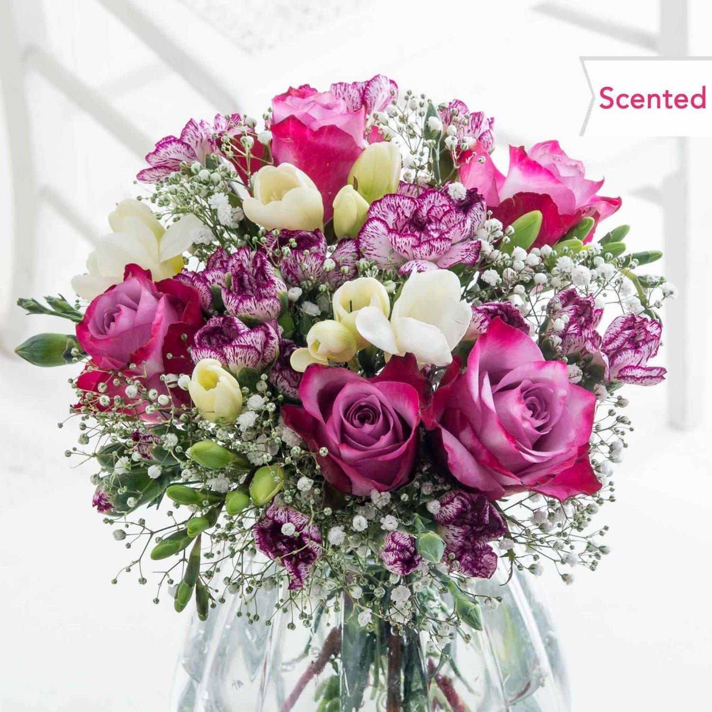 Букет от 5 рози, 7 фрезии карамфил, гипсофила